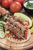stock photo of veal meat  - Souvlaki or kebab - JPG