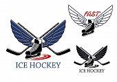 stock photo of ice hockey goal  - Ice hockey emblems with winged ice skates - JPG
