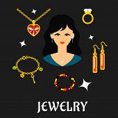 stock photo of jewelry  - Jewelry concept in flat style with pretty brunette woman surrounded fashion gold with gemstones - JPG