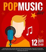 stock photo of singer  - Pop music concert promo poster with singer and microphone flat vector illustration - JPG
