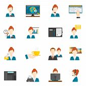 pic of secretary  - Personal assistant secretary and reception flat icons set isolated vector illustration - JPG