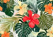 stock photo of hawaiian flower  - Summer colorful hawaiian seamless pattern with tropical plants and hibiscus flowers - JPG