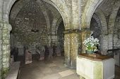 stock photo of chapels  - Interior of 800 year old St. Aldhelm