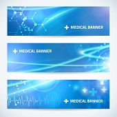 pic of microbes  - set technology medical banner vector background for web or print - JPG