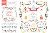 picture of bridal shower  - Retro wedding design template set with floral decor - JPG