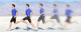 stock photo of sprinters  - Running and sprinting man at great speed - JPG