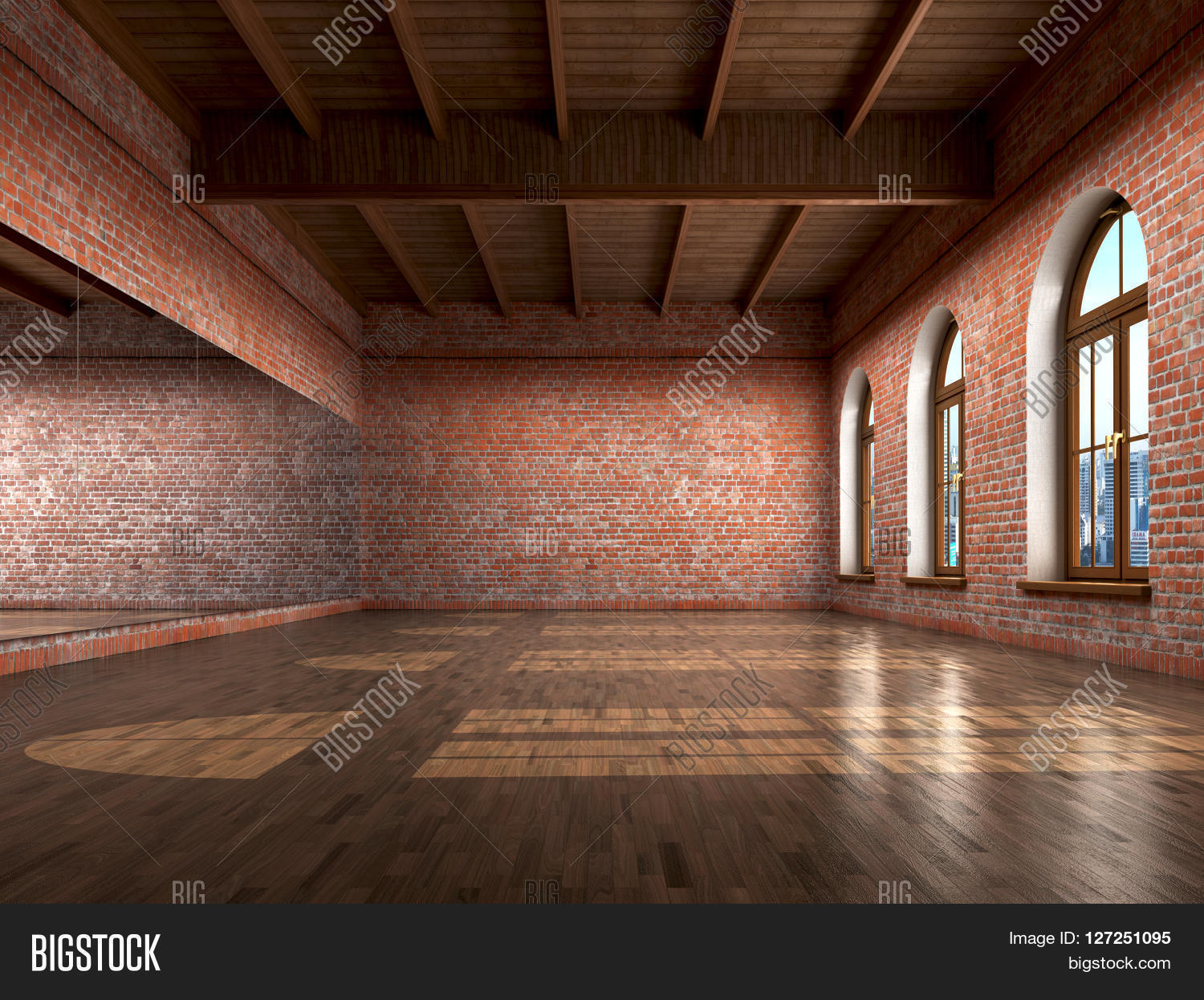 Big Empty Room Grange Style Wooden Image Amp Photo Bigstock