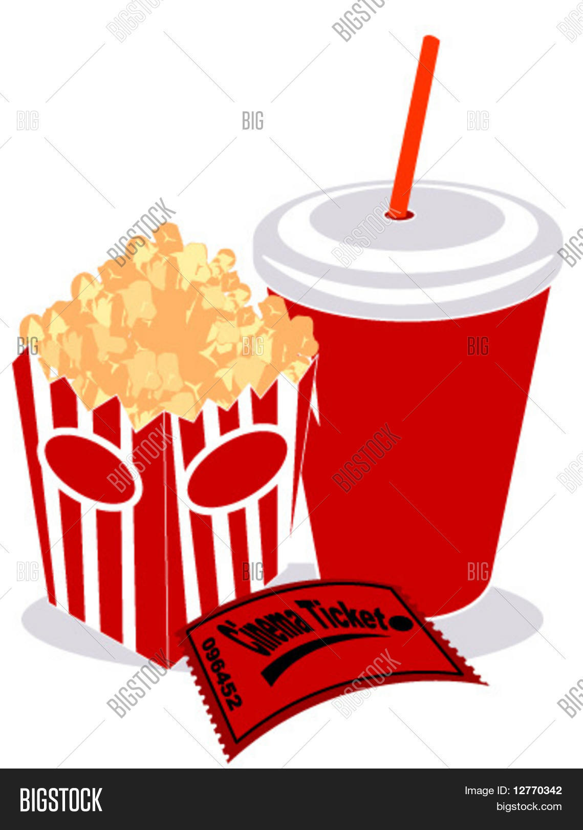 Soda, Popcorn and Movie Ticket - Vector Stock Vector ...