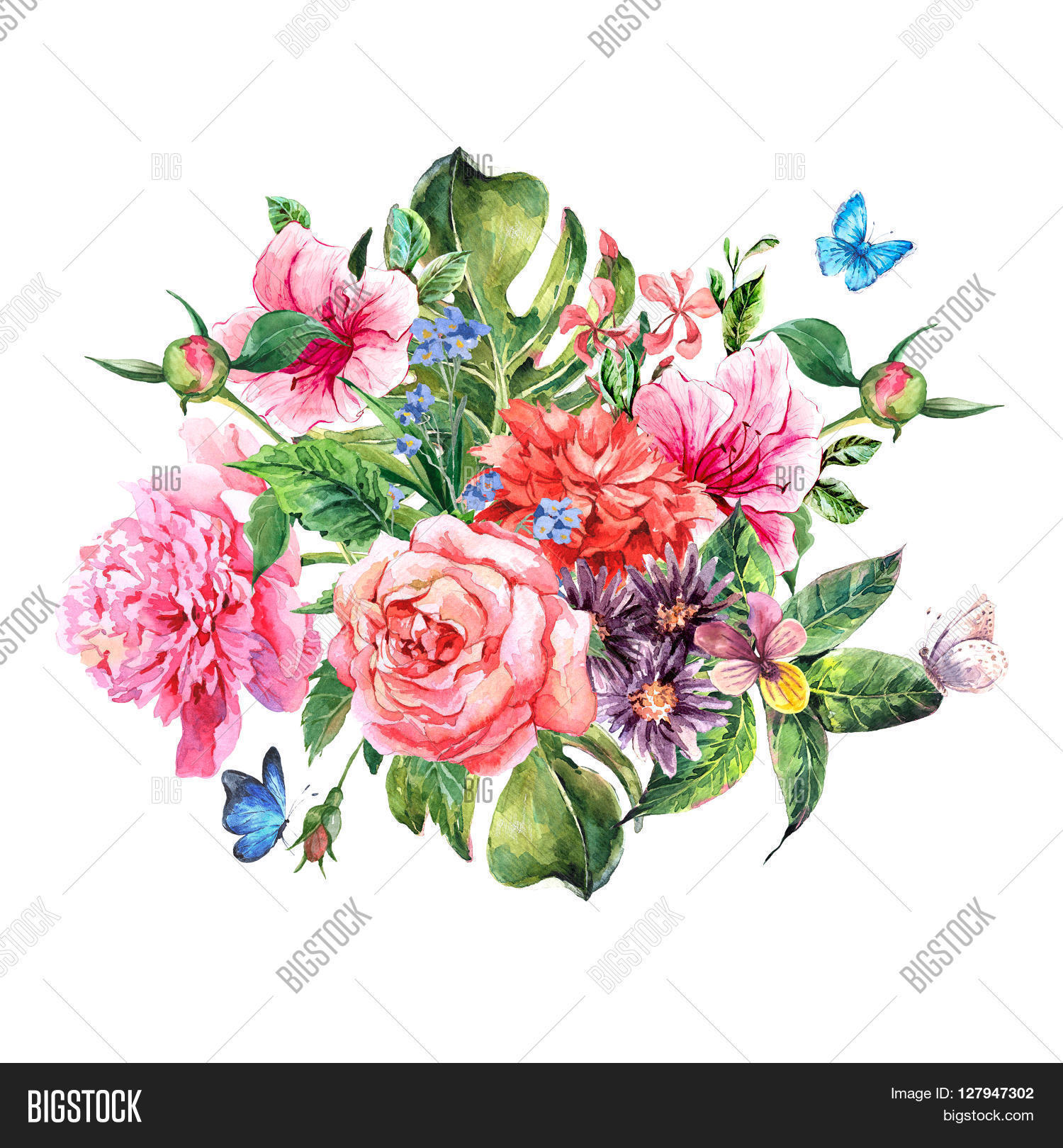 Summer hand drawing watercolor image photo bigstock summer hand drawing watercolor floral greeting card with blooming flowers peonies roses daisies ccuart Image collections
