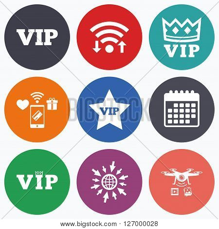 Wifi, mobile payments and drones icons. VIP icons. Very important person symbols. King crown and star signs. Calendar symbol.