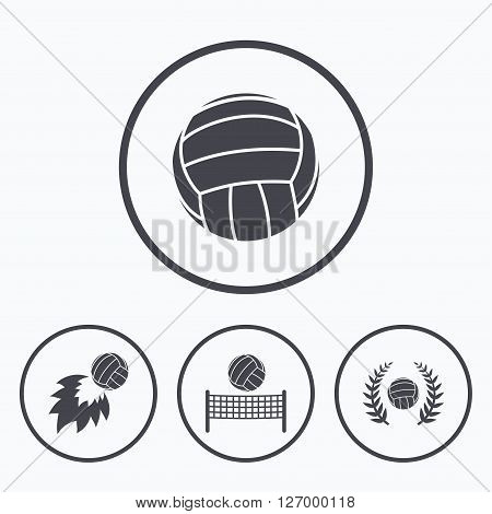 Volleyball and net icons. Winner award laurel wreath symbols. Fireball and beach sport symbol. Icons in circles.