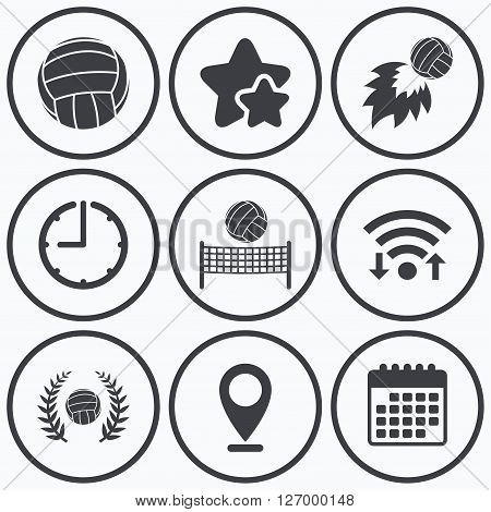 Clock, wifi and stars icons. Volleyball and net icons. Winner award laurel wreath symbols. Fireball and beach sport symbol. Calendar symbol.