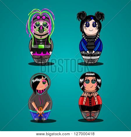 A set of dolls of different subcultures. Emo goth rocker cyber-goth. Cartoon doll.