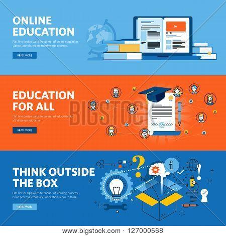 Set of flat line design web banners for online education. Vector illustration concepts for web design, marketing, and graphic design.