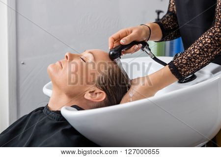 Woman Getting Hair Washed In Salon