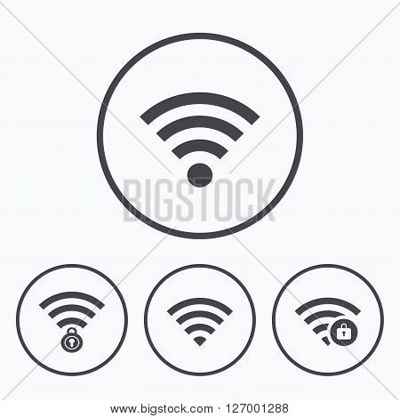 Wifi Wireless Network icons. Wi-fi zone locked symbols. Password protected Wi-fi sign. Icons in circles.