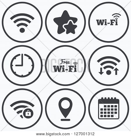 Clock, wifi and stars icons. Free Wifi Wireless Network icons. Wi-fi zone locked symbols. Password protected Wi-fi sign. Calendar symbol.