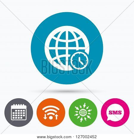 Wifi, Sms and calendar icons. World time sign icon. Universal time globe symbol. Go to web globe.