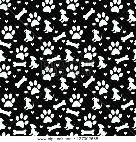 Black and White Dog Paw Prints Puppy Bone and Hearts Tile Pattern Repeat Background that is seamless and repeats
