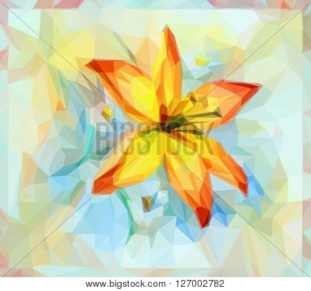 Floral Low Poly Pattern, Bouquet with Lily Flower. Vector