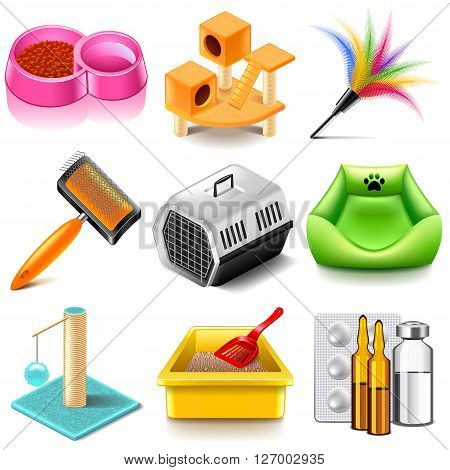 Pet cat icons detailed photo realistic vector set