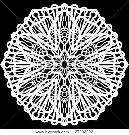 Lace round paper doily doily to decorate the cake doily under the plates festive doily white doily lacy snowflake greeting element package vector illustrations