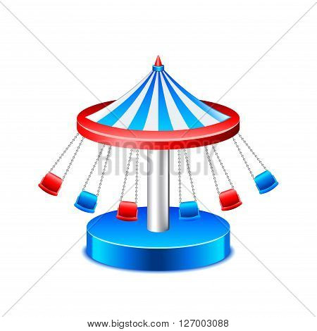 Chained carousel isolated on white photo-realistic vector illustration