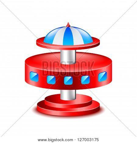 Falling cabin fair carousel isolated vector illustration