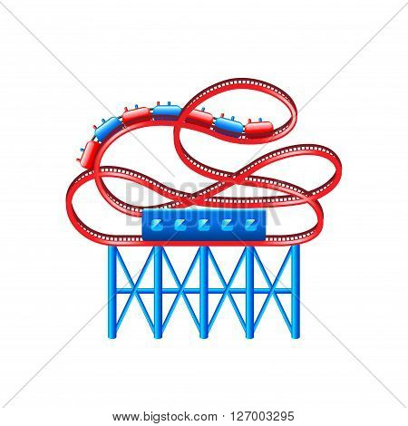Roller coaster isolated on white vector illustration