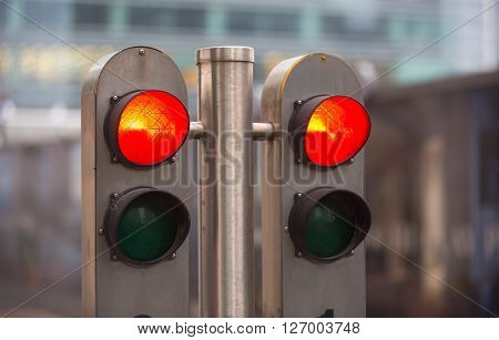 Traffic lights showing the Red, London. Red