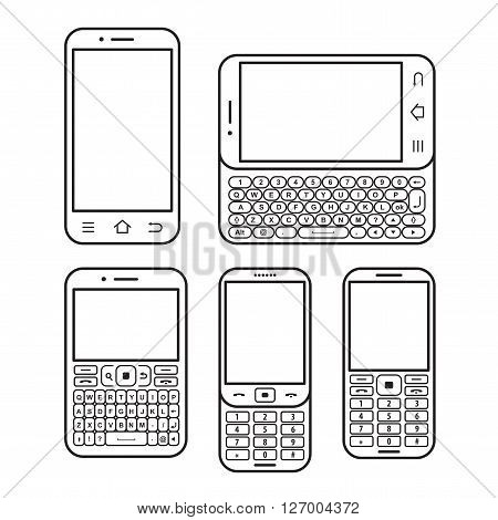 Modern mobile phone set. With QWERTY keyboard Touchscreen and slider. design concept Black and white vector icon