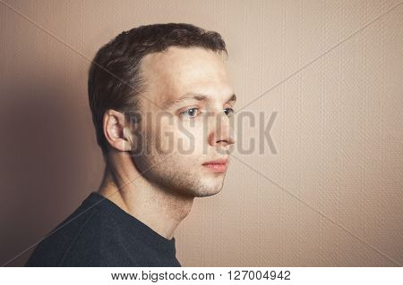 Handsome Caucasian Man Closeup Profile Portrait