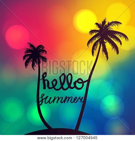 Hello Summer Lettering by brush. Typographic vacation and travel watercolor tropical poster with sunset bright background and palm exotic island. Vector