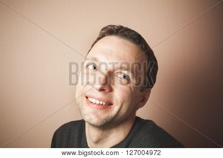 Handsome Smiling Caucasian Man Studio Portrait