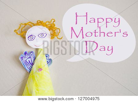 Holiday background with hand made paper angel and congratulation. Happy Mothers Day greeting card.