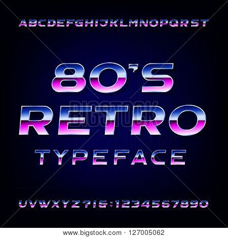 80's retro alphabet vector font. Metallic effect shiny letters and numbers. Vector typography for your design.