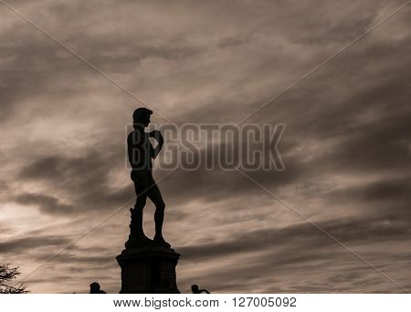 Silhouette of a statue in florence italy