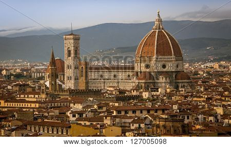The dome and tower of the  cathedral in florence