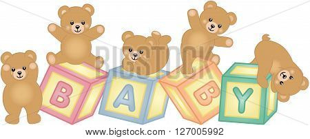 Scalable vectorial image representing a baby blocks with teddy bear, isolated on white.