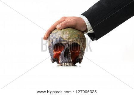 bloody Earth under pressure of a Businessman