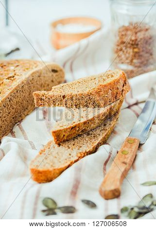 Homemade Rye Bread Unleavened With Seeds, Slices, Selective Focus