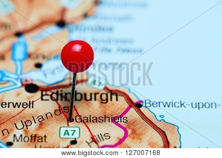 Galashiels pinned on a map of Scotland
