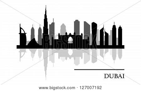 Dubai skyline panoramic view, UAE, black and white urban background, vector illustration
