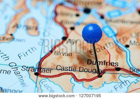 Castle Douglas pinned on a map of Scotland