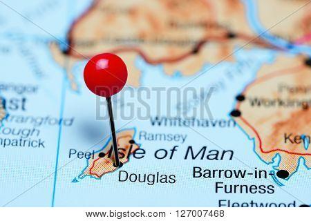 Douglas pinned on a map of UK