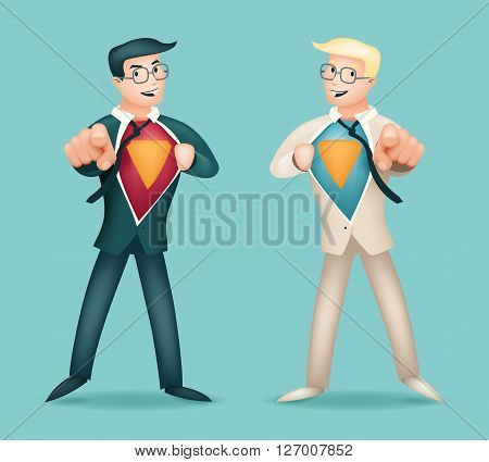 Superhero Suit Shirt Happy Smiling Businessman Turns in Icon Stylish Background Retro Cartoon Design Vector Illustration