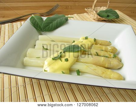 White asparagus with homemade sage butter sauce