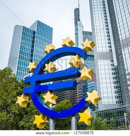 Frankfurt, Germany - July 11 : Euro Sign. European Central Bank (ECB) is the central bank for the euro and administers the monetary policy of the Eurozone. July 11, 2014 in Frankfurt, Germany.