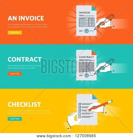 Set of flat line design web banners for business documentations, document form samples and templates, online document generator and app. Vector illustration concepts for web design, marketing, and graphic design.