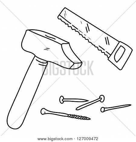 an abstract outline of different tools like hammer nails saw